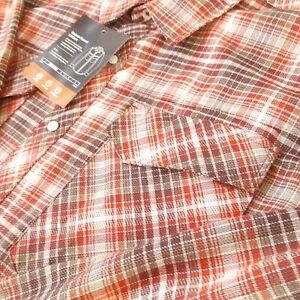 Simms Mens Shirt XL Flannel Gallatin Long Sleeve Simms Orange Plaid New