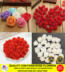3cm RED WHITE Foam Rose Flower Bouquets DIY Party Crafts Décor Handmade Roses