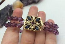VTG Mid-Century Purple Glass Faceted Bead 2-Strand Victorian Revival Bracelet