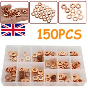 UK 150pcs Copper Diesel Injector washer Seal Assortment Set New