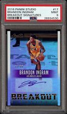 2016-17 Panini Studio Breakout Brandon Ingram Lakers Rookie RC AUTO /99 PSA 9