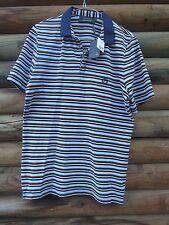 Arthur Galan AG Men's Blue, Black And White Hooped Short Sleeve Shirt Size 2