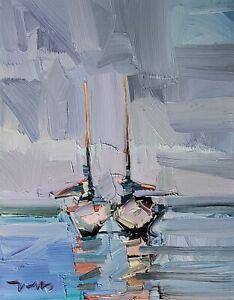 JOSE TRUJILLO Oil Painting IMPRESSIONISM CONTEMPORARY Seascape Nautical Boats