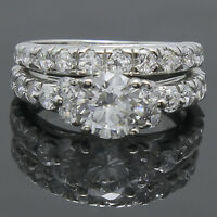 Woman's 925 Sterling Silver Round Cut Solitaire Engagement Ring Wedding Band Set