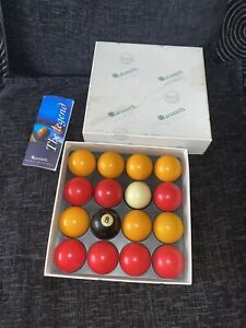 Vintage Pool Balls Aramith Billiard Balls 1998 Red Yellow 8 Ball Boxed Legend