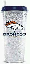 NFL Denver Broncos Crystal Freezer Travel Tumbler Mug - (16oz) w/Straw