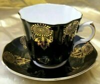 VINTAGE ROYAL GRAFTON FINE BONE CHINA ENGLAND BLACK WITH GOLD CUP & SAUCER