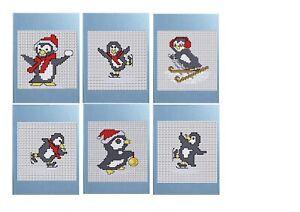 Daisy Hill Designs Cross stitch Christmas Card Kit Stitch & Make 6 Penguin cards