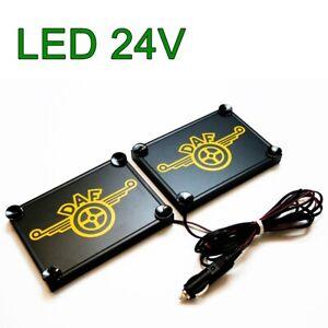 2x LKW LED Schilder Leuchtschild Namenschild DAF 2x 15x18cm 24V Gelb