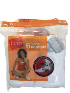 Hanes set of 6 paris Women's cushion no show white socks fit shoe size 5-9