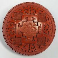 """Antique 1920s Chinese Hand-Carved Red Cinnabar Lidded Trinket Box 2.5"""""""