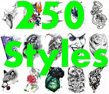 250 Styles!! Skull Feather Bird Tribal Wolf Tiger Dragon Eyes Temporary Tattoo