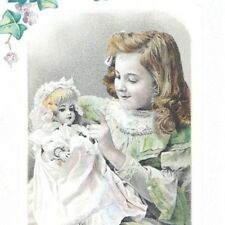 Edwardian Valentine postcard girl with doll