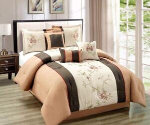7Pc King Chocolate Brown / Burgundy / Sage Floral Embroidered Comforter Set