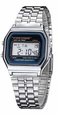 Silver Retro Digital F91W stainless steel strap Unisex Watch - Stopwatch, Alarm