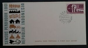 1961 Indonesia 1st National Census FDC ties 3 Stamps cd Bandung