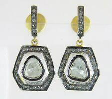 18K Gold & Silver .50ct Genuine Rose Cut Diamond Victorian Dangle Earrings