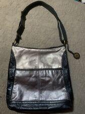 The SAK IRIS Leather Crossbody Handbag Metallic Colorblock Shoulder Bag Tote EUC