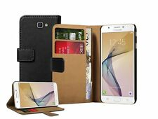 Wallet BLACK Leather Flip Case Cover For Samsung Galaxy J7 Prime + 2 Protectors