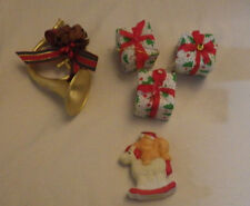 Christmas Presents Horn Rocking Horse Ornaments Lot of 5 Ornament Decoration