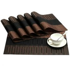 New listing Shacos Placemats Set of 6 Woven Vinyl Place Mats for Dining Table Heat Resist.