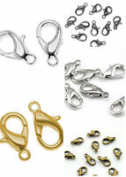100Pcs New clasps 3 COLORS Plated Lobster Clasps Hooks Charms Findings 10mm 12mm