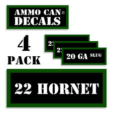 "22 HORNET Ammo Can 4x Labels Ammunition 3""x1.15"" Caliber stickers decals 4 pack"