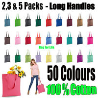 Shopping Bag 2 3 and 5 PACK  Bright tote long handle Bag for Life Cotton LOT