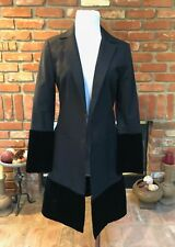 MAX STUDIO S CHIC Velvety TRIM Hemline Cuffs Long Dress Jacket Coat