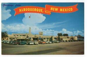 022821 1905s AUTOS AT AIRPORT VINTAGE ALBUQUERQUE NM POSTCARD