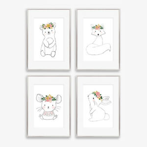 Woodland Animal Floral Nursery Art Prints Childrens Girls Bedroom Pictures Decor