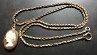Lovely 9ct Gold Chain/ Necklace With 9ct Gold Cameo Pendant,-37.5cm,-4.80g