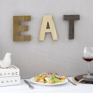 Wall Mounted Decorative Brown Wood EAT Cut-Out Block Letters Sign, 3-pc Set