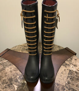 LUCKY BRAND ORLAND TALL LACE BLACK RAIN BOOTS SIZE 10