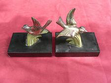 paire de serre livre oiseau art deco regule et marbre