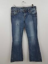 silver frances jeans distressed holes 27 31 medium wash flare womens pants