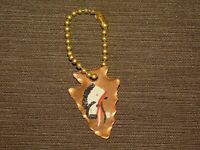 VINTAGE OLD CAR KEY CHAIN METAL COPPER INDIAN CHIEF ARROWHEAD