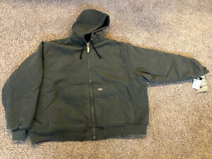 NWT New DICKIES Sanded Duck Pea Coat, Work Jacket 4X 4XL Olive Green TJ326RMS
