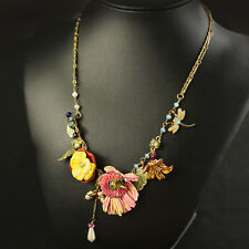 Collier Fin Chrysanthemum Jaune Rose Feuille Perle Libellule Abeille Feuille L7