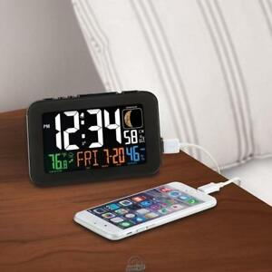 LA CROSSE Smart Phone Charging Atomic Alarm Clock Large LED Display USB Charger