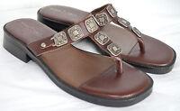 Minnetonka T-Strap Sandals Womens 7 Brown Leather Slides Slip On Thong Western