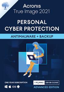 Acronis True Image 2021 1 PC/Mac 1 Year 250GB Cloud Backup Antivirus Advanced