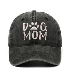 Embroidered DOG MOM  Vintage Distressed Baseball Cap Washed Denim Ponytail Hat