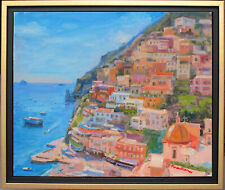 SEASCAPE IN POSITANO~ITALY~LISTED ARTIST~ORIGINAL OIL PAINTING BY MARC FORESTIER