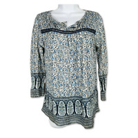 Lucky Brand Tunic Top Blue Patterned 3/4 Sleeve Lace Trim Peasant Blouse Size S