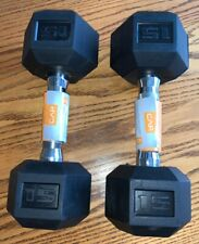 CAP 15lb *SET* Rubber-Coated Hex Dumbbell Weightlifting Workout Weights Training