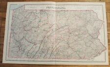 Antique Colored MAP/Gray's - PENNSYLVANIA - The National Atlas 1893