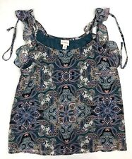 Women's NWT Merona Flutter Sleeve Tank Top - Size S - Green Paisley - Tie NEW