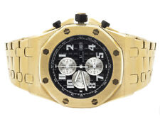 Men's Jewelry Unlimited Solid Yellow Gold Steel Black Dial Chronograph Watch