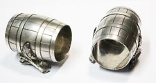 Very interesting old pair of silver plated napkin rings cask barrel branchs leaf